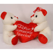 valentine heart pillow with 2 teddies