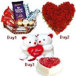 Day-1 Chocolate Basket Day-2 24 red roses heart Day-3 2 Teddies and 1 kg heart cake and Valentine heart