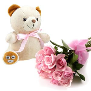 Teddy bear with 30 pink roses bouquet