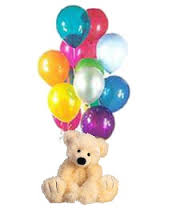 Bouquet of 10 air filled balloons and teddy bear