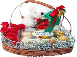 12 red roses basket ferrero rocher with teddy