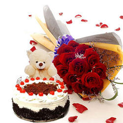 6 inch Teddy 1/2 Kg black forest cake 12 red rose