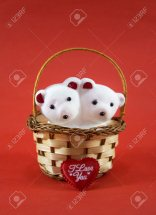 2 Teddies (6 inches each) with valentine heart in same basket