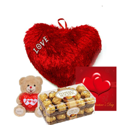 Valentine heart 8 inches, Teddy 6 inches with ferrero Chocolate box and card