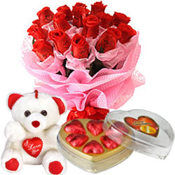 12 red roses 6 inch Teddy and heart chocolates
