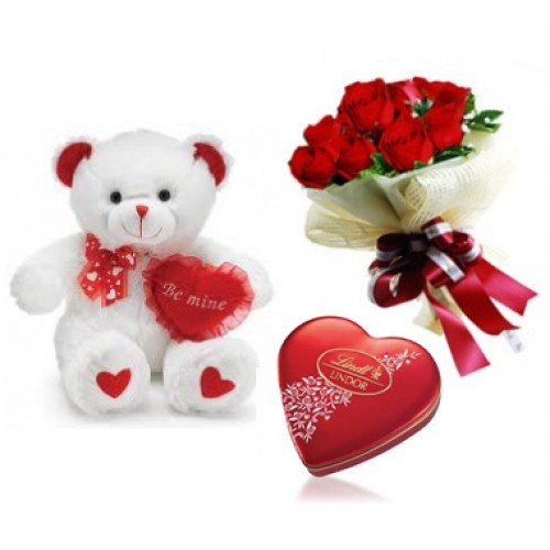 12 red roses Teddy and Valentine heart