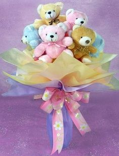 5 Teddies bouquet 6 inches each