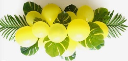 15 yellow small large balloons with leaves and flowers