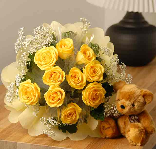 20 yellow roses with teddy